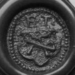 """neuzeitliches """"Steck-Petschaft"""" ohne Handhabe (Holz?) mit Initialen ET, etwa 16.Jh. (Tartschen-Schild mit Hausmarke), Abdruck"""
