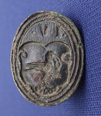 früh-neuzeitliches Petschaft ca. 16.Jh.(Tartschen-Schild mit Elster), Initialen IV
