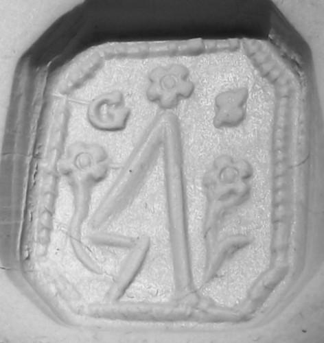 Petschaft, 18.Jh., gestürzte Pflugschar und Initialen, Abdruck