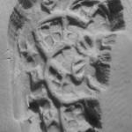 stark deformierter und zerbrochener Siegelstempel um 1400, Abdruck