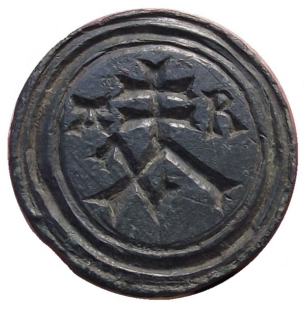Doppelsiegel als Halb-Rohling mit bearbeiteter kleiner Siegelfläche, gespiegelt