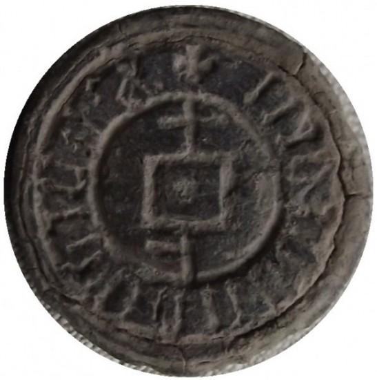 Bleisiegel mit Hausmarke, Umschrift unlesbar, 15.Jh.