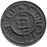 Bleisiegel mit Hausmarke, Umschrift unlesbar, 15.Jh., Abdruck