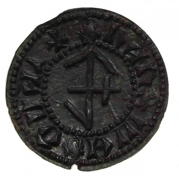 mittelalterliches Petschaft mit Hausmarke um 1400, gespiegelt