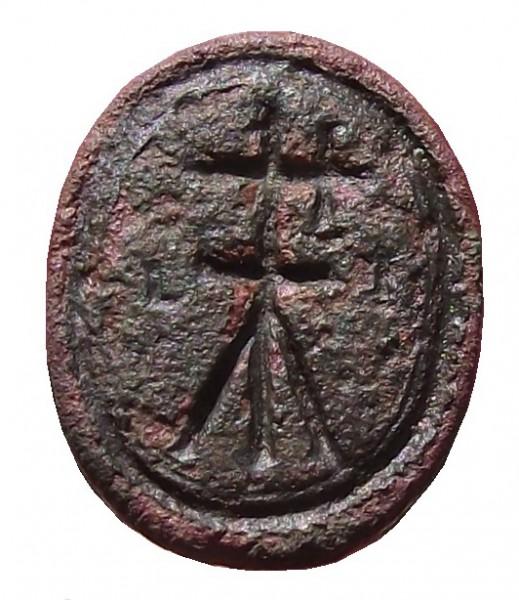 mittelalterliches Petschaft mit Hausmarke ca. 15./16.Jh., gespiegelt