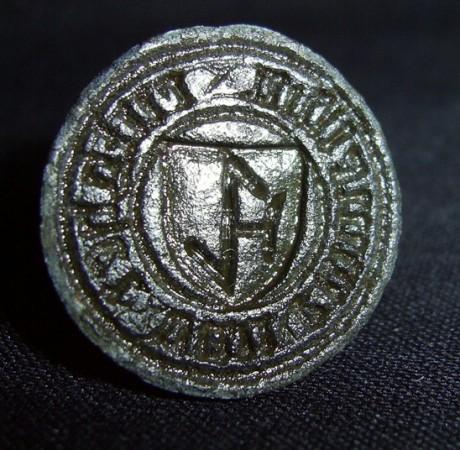 Petschaft, ungewöhnliche Halterung für Handhabe, Hausmarke im Wappen, ca. 15./16.Jh.