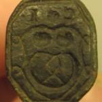 Bäcker-Petschaft, etwa 16.Jh. mit Initialen und Zunftzeichen im Wappen