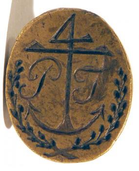 Petschaft mit Anker, Segenszeichen und Initialen, Messing, ca. 19.Jh., gespiegelt