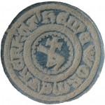 mittelalterliches Petschaft mit Hausmarke um 1400 im Fundzustand, gespiegelt