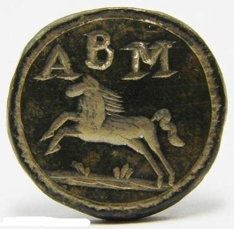 neuzeitliches Petschaft mit springendem Pferd und Initialen, etwa Ende des 18.Jh.