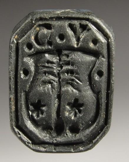 früh-neuzeitliches Petschaft mit Initialen und Tartschenwappen des 16.Jh., gespiegelt