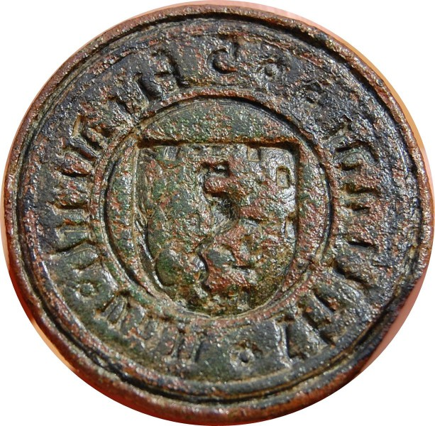 mittelalterliches Petschaft mit steigendem Löwen im Wappen (Nassau)