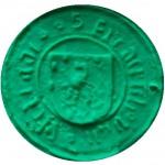 mittelalterliches Petschaft mit steigendem Löwen im Wappen (Nassau), Abdruck in Knete