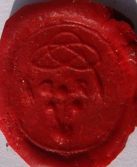 neuzeitliches Siegel, wohl um 1800, Blumen, die aus dem Herzen sprießen, Initialen, darüber Zierband, Abdruck