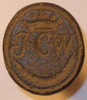 neuzeitliches Petschaft, gekrönte Initialen, um 1800, gespiegelt