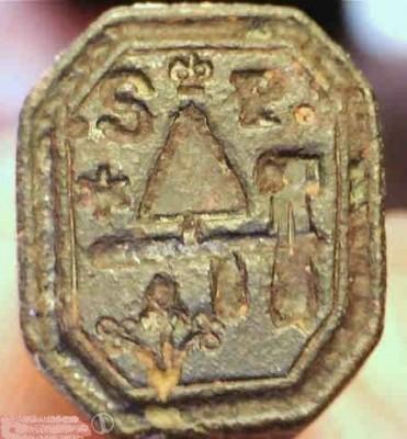 neuzeitliches Petschaft eines Maurers um 1800, gespiegelt