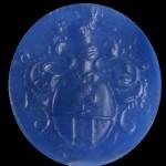 neuzeitliches Petschaft, rundes Wappen des niederen Adels um 1800, Abdruck