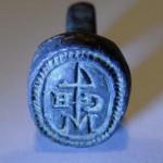 neuzeitliches Petschaft Segenszeichen / Hausmarke mit Initialen, um 1800