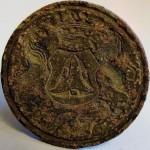 Petschaft, wohl frühes 18.Jh., Zunftzeichen der Weber und Initialen, gespiegelt