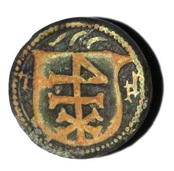 hülsenförmiges Siegel des 16.Jh. , Initialen und Hausmarke im Wappen
