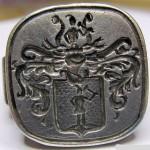 silberner Siegelring mit bisher unbestimmtem Wappen, neuzeitlich