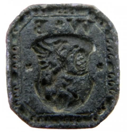 Petschaft mit Initialen und Greif, welche eine Brezel hält, wohl ein Siegel eines Bäckers etwa 16.-18.Jh.