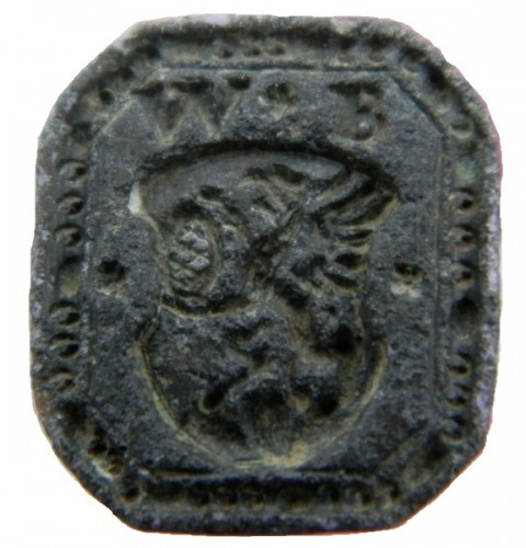 Petschaft mit Initialen und Greif, welche eine Brezel hält, wohl ein Siegel eines Bäckers etwa 16.-18.Jh., gespiegelt