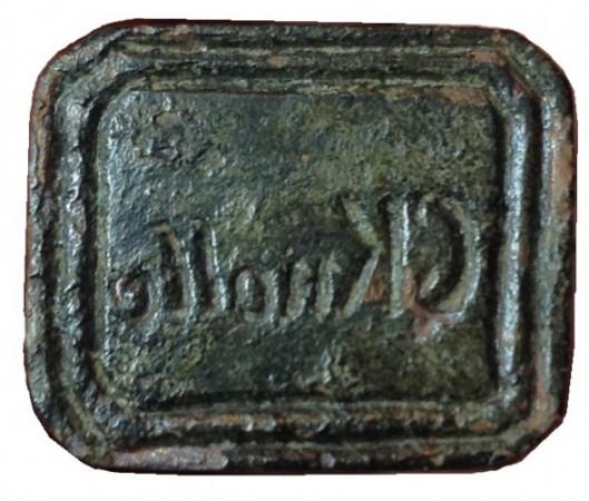 """neuzeitliches hülsenförmiges Siegel ohne Handhabe """"C Knolle"""""""