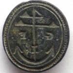 neuzeitliches Petschaft mit dem Segenszeichen 4 und Anker sowie Initialen, etwa 19.Jh.