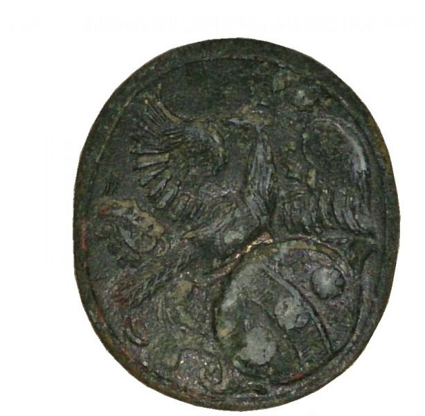 Siegelplatte ohne Handhabe eines neuzeitlichen Petschaftes mit Wappendarstellung