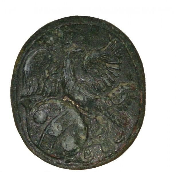 Siegelplatte ohne Handhabe eines neuzeitlichen Petschaftes mit Wappendarstellung, gespiegelt