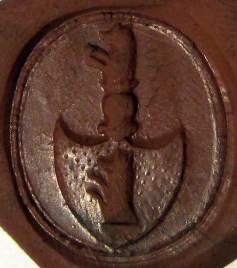 neuzeitliches Petschaft mit steigendem Tier im Wappen, Abdruck