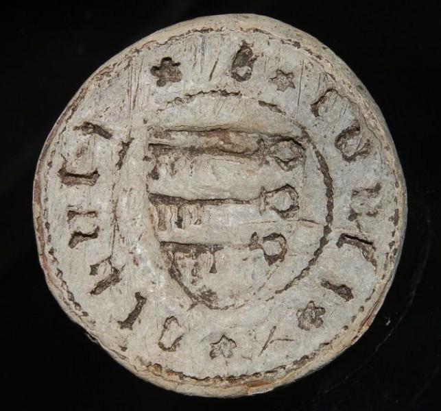 spätmittelalterliches Blei-Petschaft aus Süddeutschland, ca. 15.Jh., gespiegelt