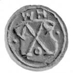 Petschaft des 16.Jh. mit ungelochter Handhabe, Initialen und Hausmarke im Tartschenwappen, gespiegelt