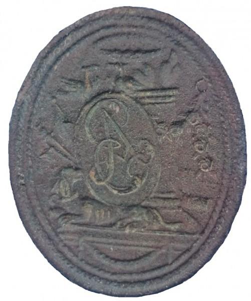 neuzeitliches Petschaft, hier Siegelplatte ohne Handhabe, wohl 18.Jh.