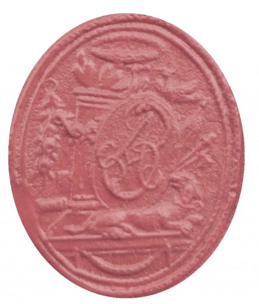 neuzeitliches Petschaft, hier Siegelplatte ohne Handhabe, wohl 18.Jh., Abdruck