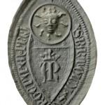 außergewöhnliches Siegel des Klerikers Bartold Swartepapen , 14.Jh., Abdruck