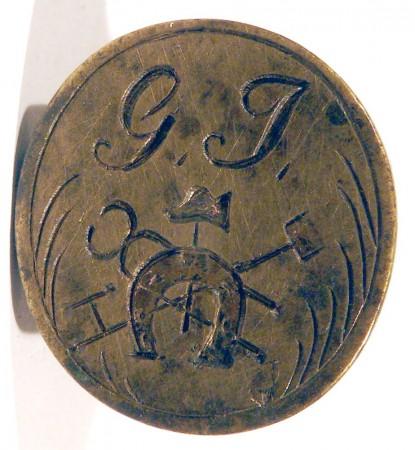 Petschaft eines Hufschmiedes mit Initialen, ca. 19.Jh., gespiegelt