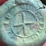 mittelalterliches Petschaft, im Zentrum Hausmarke, Umschrift unlesbar