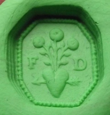 neuzeitliches Petschaft, Initialen, Blumen aus dem Pfeil durchbohrtem Herzen, etwa 18./19.Jh., Abdruck