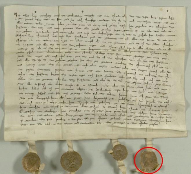 Petschaft des Heinrich von Polheim um 1320, Urkunde mit originalem Siegelabdruck