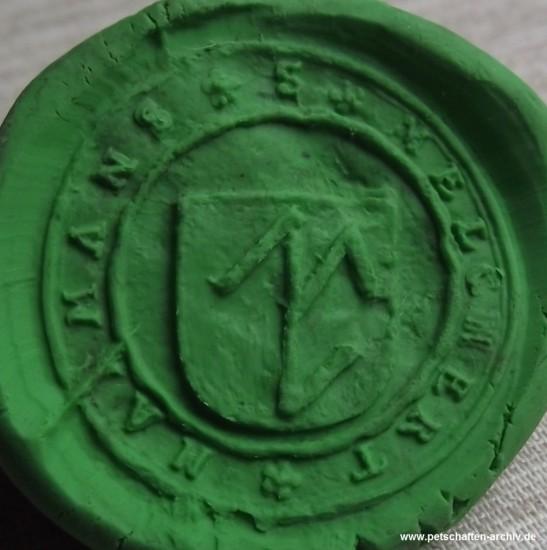 Siegel des Melchert Harmans aus bleiähnlichem Material mit Hausmarke im Wappen, etwa 16./17.Jh., Abdruck