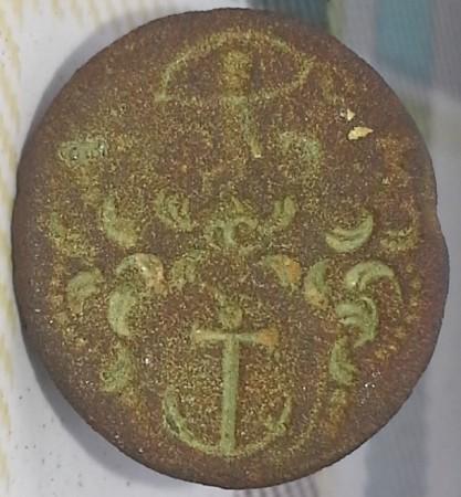 neuzeitliches Petschaft mit Initialen, im runden Wappen ein Anker, um 1800