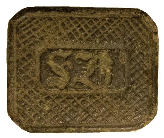 interessantes neuzeitliches Petschaft mit Bohrung und Tragering im Griffhalter, vermutlich 19.Jh., Siegelfläche gespiegelt