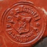 Petschaft des 15./16.Jh., Schild mit 3 blättriger Pflanze, Minuskeln