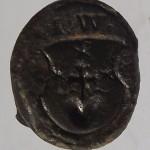 """neuzeitliches """"Steck-Petschaft"""" ohne Handhabe (Holz?) mit Initialen IW, etwa 16.Jh. (Tartschen-Schild mit Hausmarke- 3 Sterne, Kreuz und Herz), gespiegelt"""