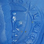 Petschaft aus dem Raum Straubing, S(igillum) VLRICI D(e) ... Siegel des Ulrich von ... 13./14.Jh., Abdruck in Knete