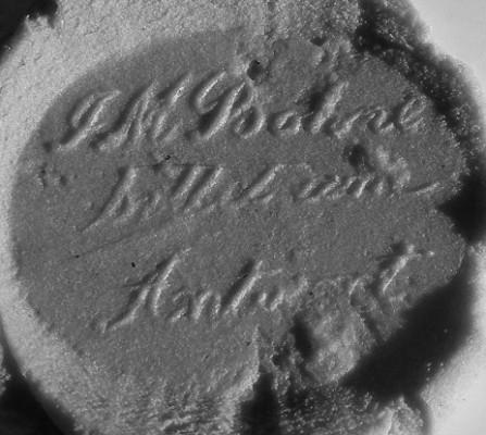 """Abdruck, neuzeitliches Petschaft mit abgebrochener Handhabe, Inschrift: """"J M Bohne bittet um Antwort"""""""