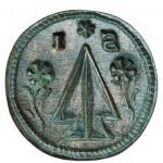 wunderbar erhaltener Siegelstempel mit bäuerlichem Motiv aus dem südöstlichen Niederösterreich um 1800, abgebildet sind 2 Pflugscharen
