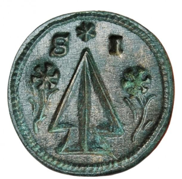 wunderbar erhaltener Siegelstempel mit bäuerlichem Motiv aus dem südöstlichen Niederösterreich um 1800, abgebildet sind 2 Pflugscharen, gespiegelt